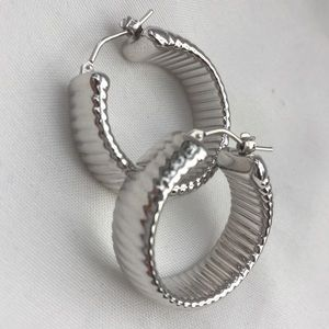 14K White Gold Earrings Hoops Milor Italy